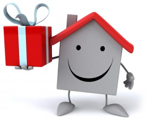 Cartoon of house with redroof holding a present