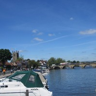 Henley on thames with boats and church