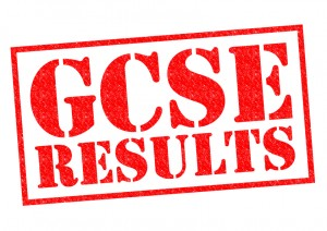 GCSE RESULTS red Rubber Stamp over a white background.