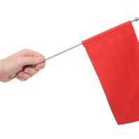 Hand holding a red flag isolated on white background. Put your own text