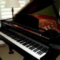 Black polished wood piano in room with lamp