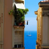 Monte Carlo Glamour holiday, blue sea and yacth between to hotes Monaco
