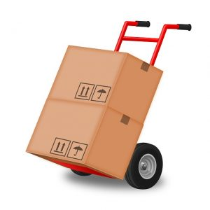 Red trolley with two packing boxes on