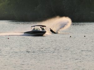 boat and waterskiing