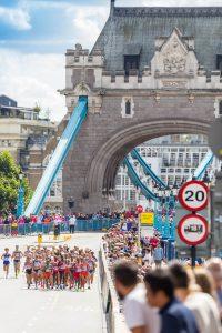 Marathron runners over London Bridge