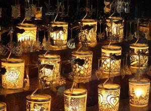 Christmas fair lanterns lit up
