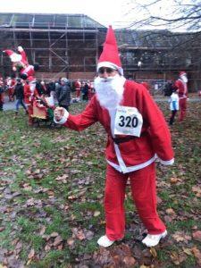 Santa warming up for fun run
